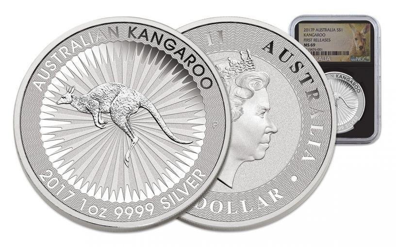 2017 Australia 1 Dollar 1-oz Silver Kangaroo NGC MS69 First Releases - Black Core