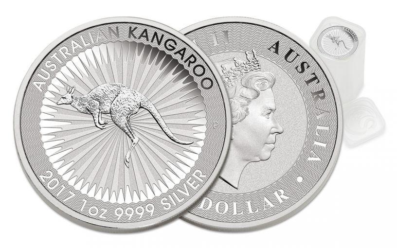 2017 Australia 1 Dollar 1-oz Silver Kangaroo BU 25-Coin Mint Roll