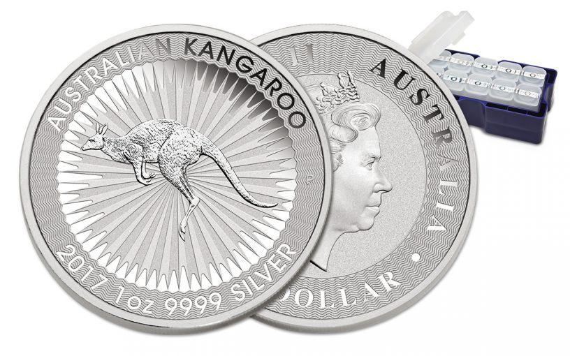 2017 Australia 1 Dollar 1-oz Silver Kangaroo BU 250-Coin Mint Box