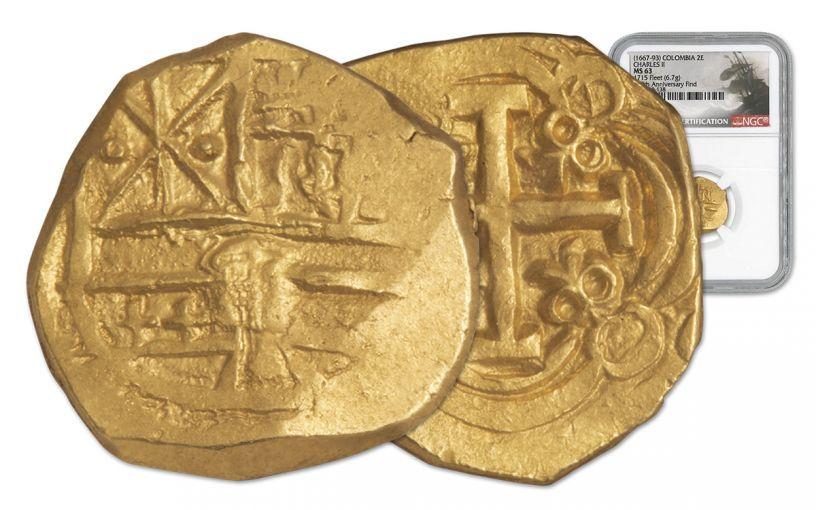 1694-1713 Colombia Gold 2 Escudo NGC MS63 1715 Fleet