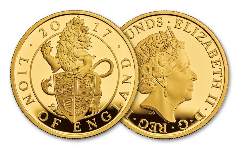 2017 Great Britain 100 Pound 1-oz Gold Queen's Beasts The Lion Proof