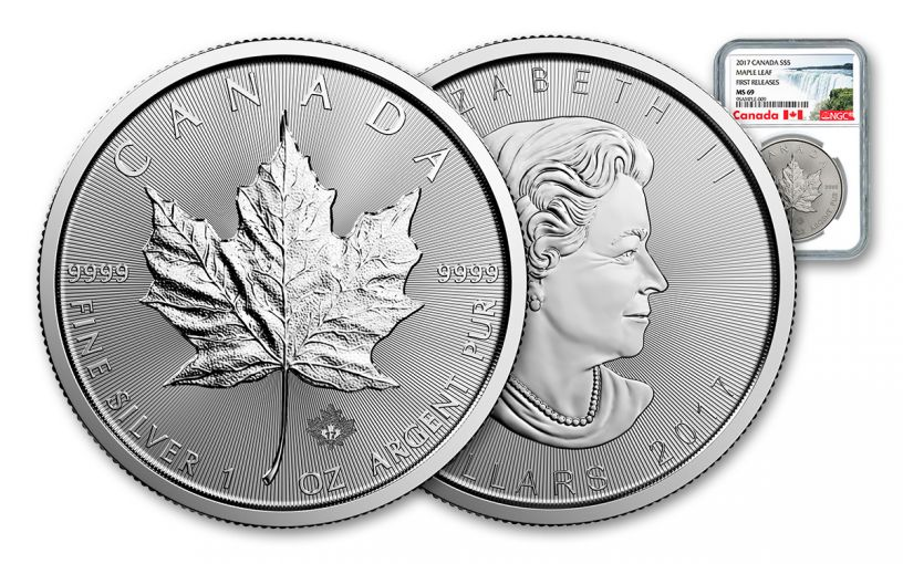 2017 Canada 5 Dollar 1-oz Silver Maple Leaf NGC MS69 First Releases