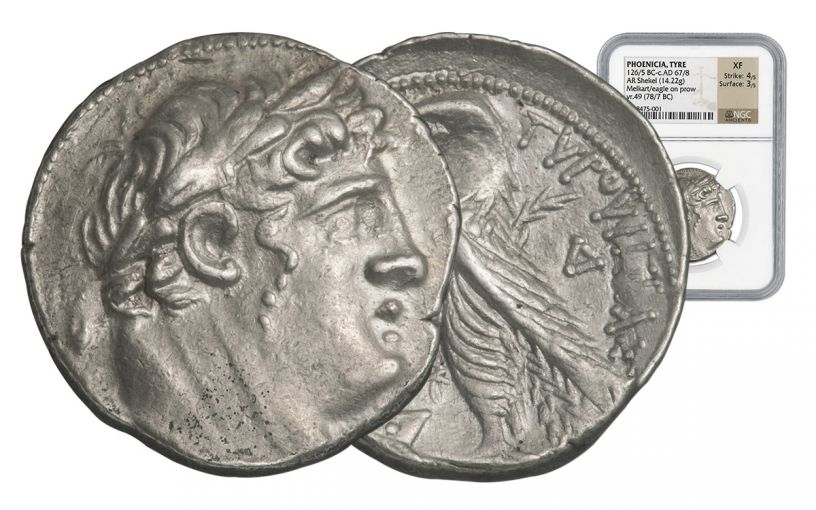 78/77 BC Tyre Silver Shekel NGC XF