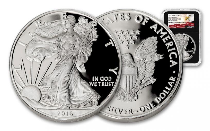 2016-W 1 Dollar 1-oz Silver Eagle NGC PF69 - Black
