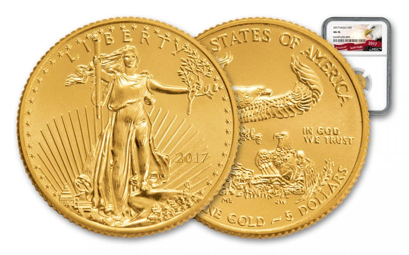 2017 5 Dollar 1/10-oz Gold Eagle NGC MS70