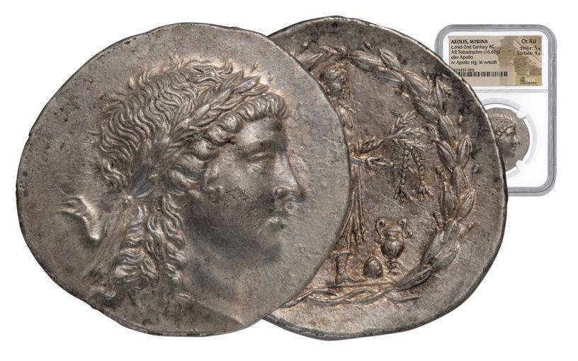 160-143 BC Greek Myrina Aeolis Silver Tetradrachm NGC Choice AU