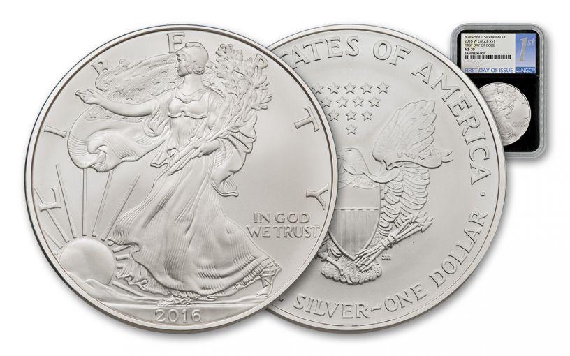 2016-W 1 Dollar 1-oz Silver Burnished Eagle NGC MS70 FDI - Black