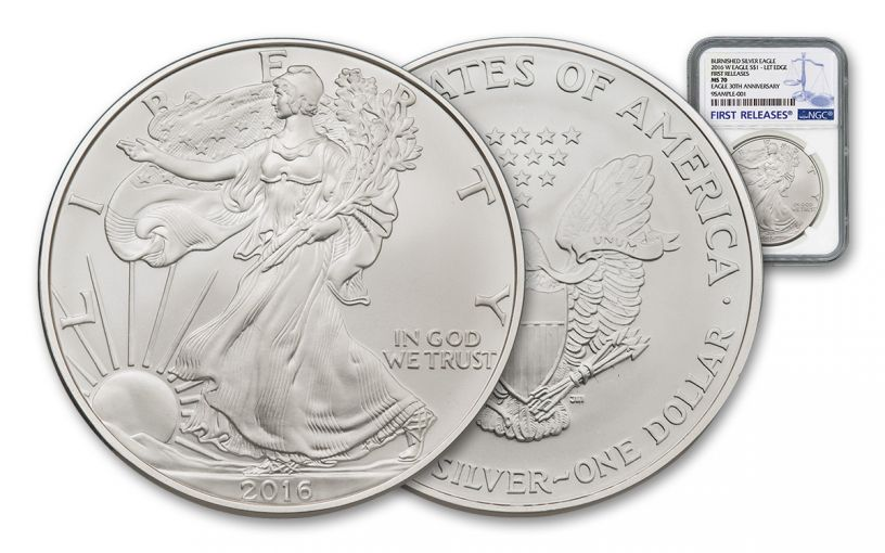 2016-W 1 Dollar 1-oz Burnished Silver Eagle NGC MS70 First Releases