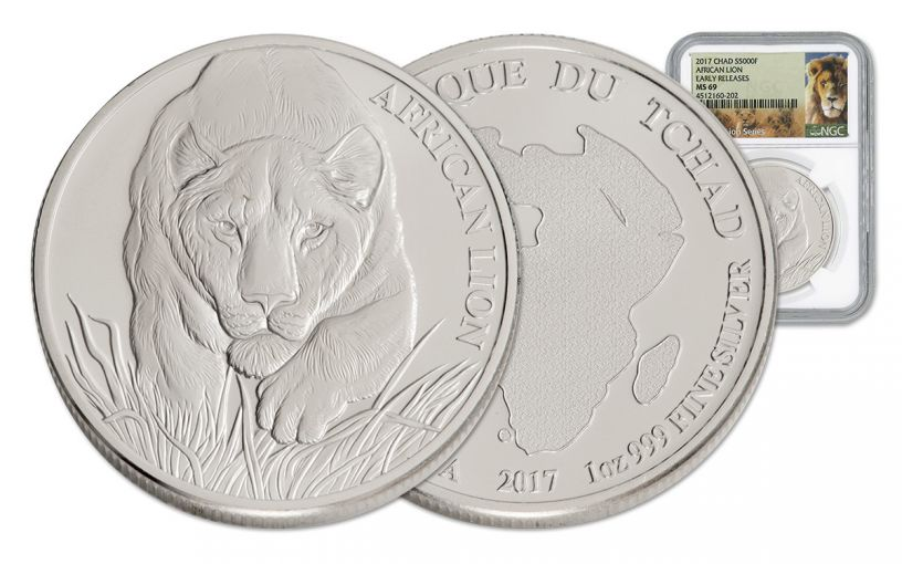 2017 Chad 5000 Franc 1-oz Silver Lion NGC MS69 Early Release