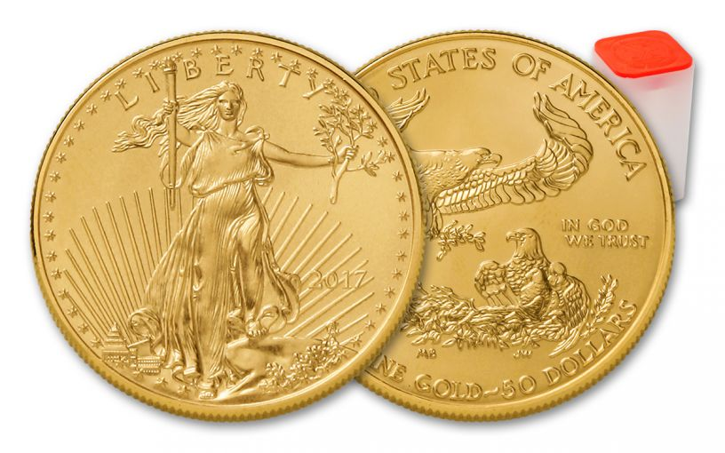 2017 50 Dollar 1-oz Gold Eagle BU 20-Coin Roll