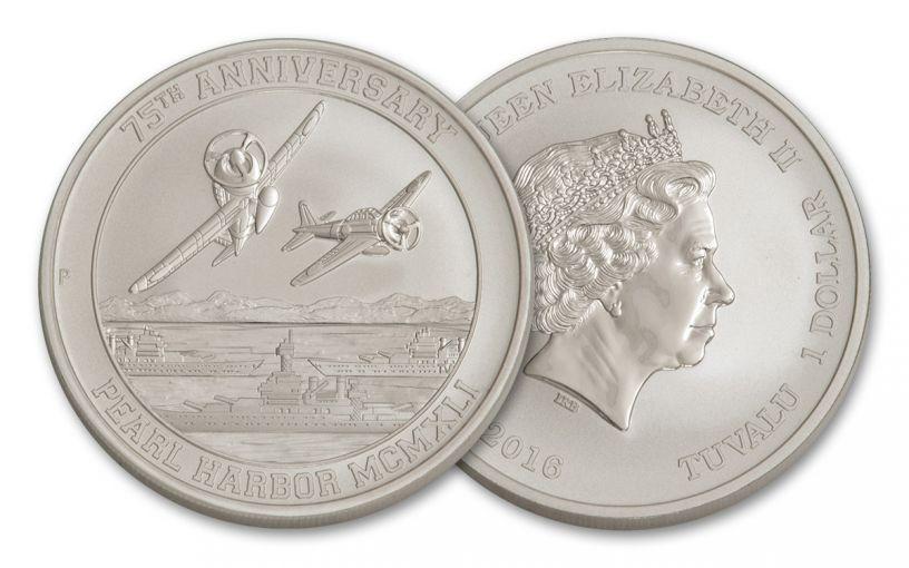 2016 Tuvalu 1 Dollar 1-oz Silver 75th Anniversary of Pearl Harbor BU