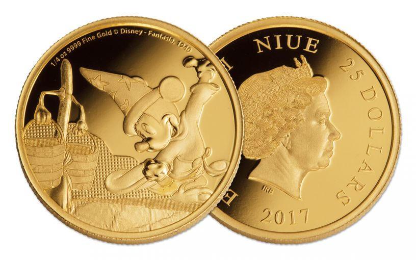 2017 Niue 25 Dollar 1/4-oz Gold Disney Mickey Fantasia Proof