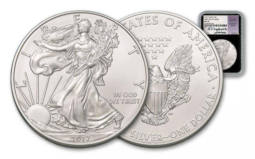 2017 1 Dollar 1-oz Silver Eagle NGC MS70 Jones Signed - Black