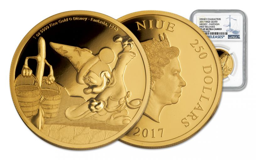 2017 Niue 250 Dollar 1-oz Gold Disney Mickey Fantasia NGC PF69UCAM First Releases