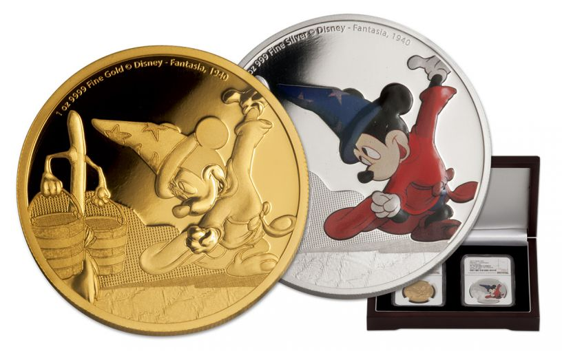 2017 Niue 1-oz Silver and Gold Mickey Fantasia 2-Piece Set NGC PF70UC First Struck