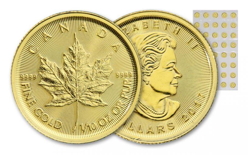 2017 Canada 5 Dollar 1/10-oz Gold Maple Leaf BU 40-Coin Sheet