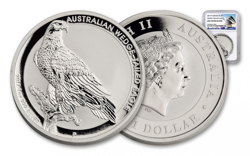 2017 Australia 1 Dollar 1-oz Silver Wedge-Tailed Eagle NGC Gem Uncirculated