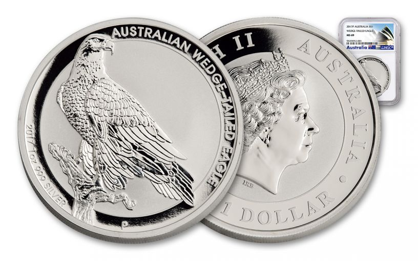 2017 Australia 1 Dollar 1-oz Silver Wedge-Tailed Eagle NGC MS69
