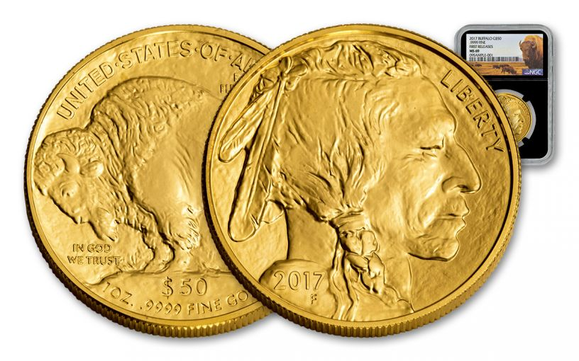 2017 50 Dollar 1-oz Gold Buffalo NGC MS69 First Releases Buffalo Label - Black