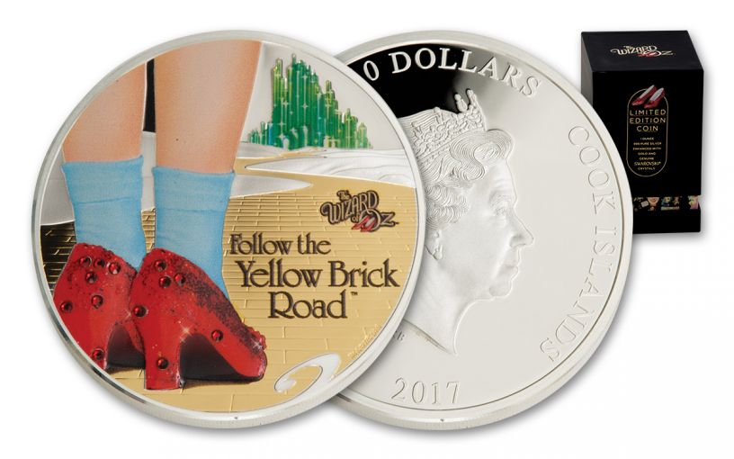 2017 Cook Islands 1-oz Silver Wizard of Oz: Yellow Brick Road 24K Gold Gilded Proof