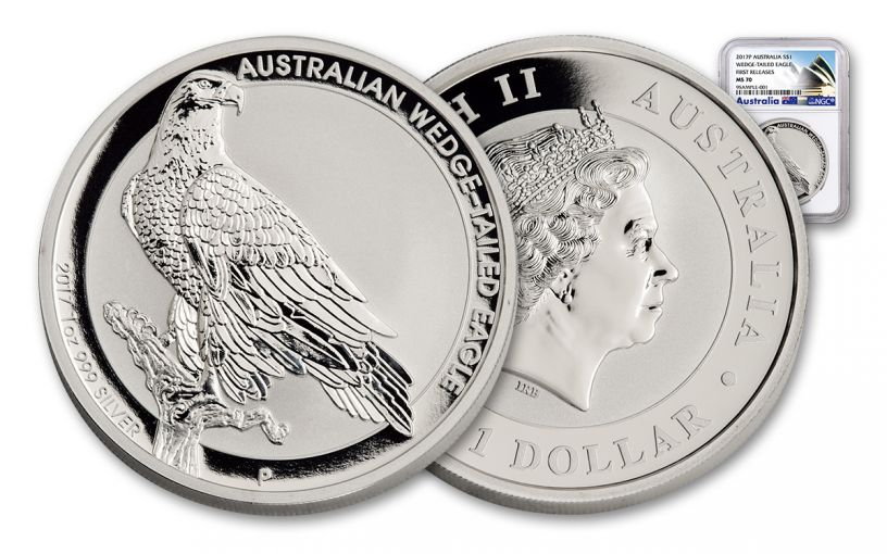 2017 Australia 1 Dollar 1-oz Silver Wedge-Tailed Eagle NGC MS70 First Releases