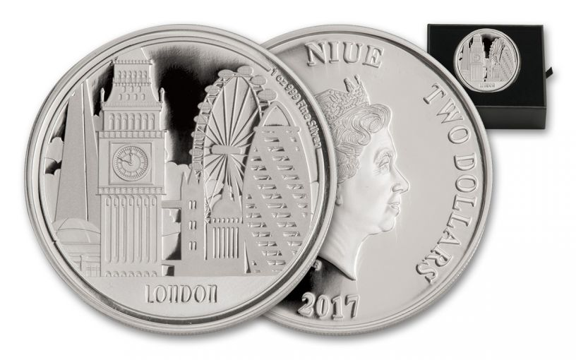 2017 Niue 2 Dollar 1-oz Silver Great Cities - London Proof