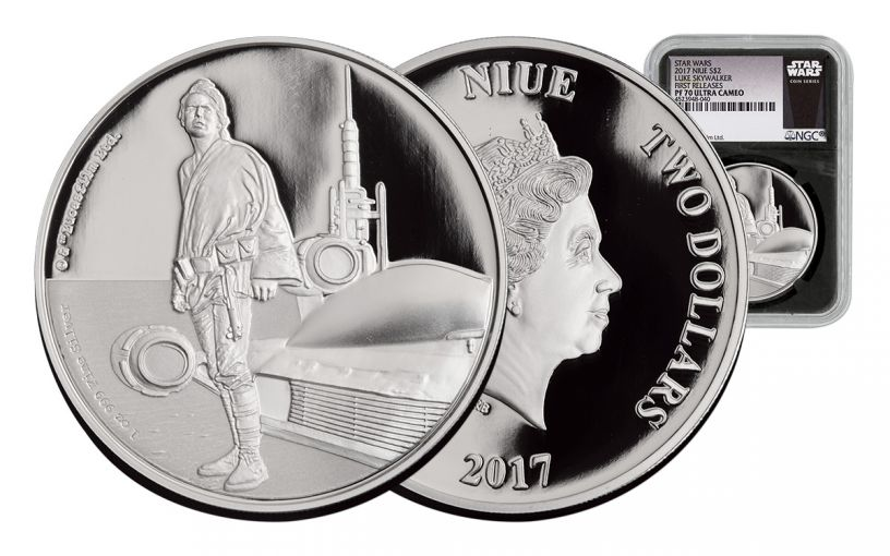 2017 Niue 2 Dollar 1-oz Silver Star Wars Luke Skywalker NGC PF70UCAM First Releases - Black
