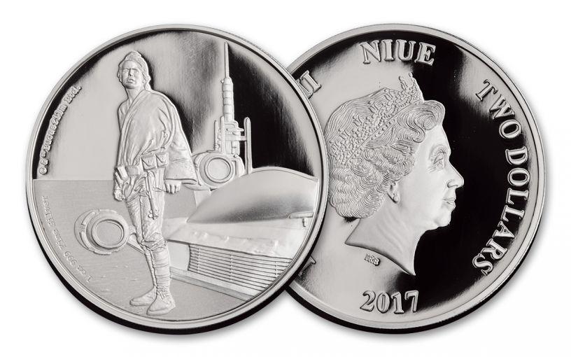 2017 Niue 2 Dollar 1-oz Silver Star Wars Luke Skywalker Proof
