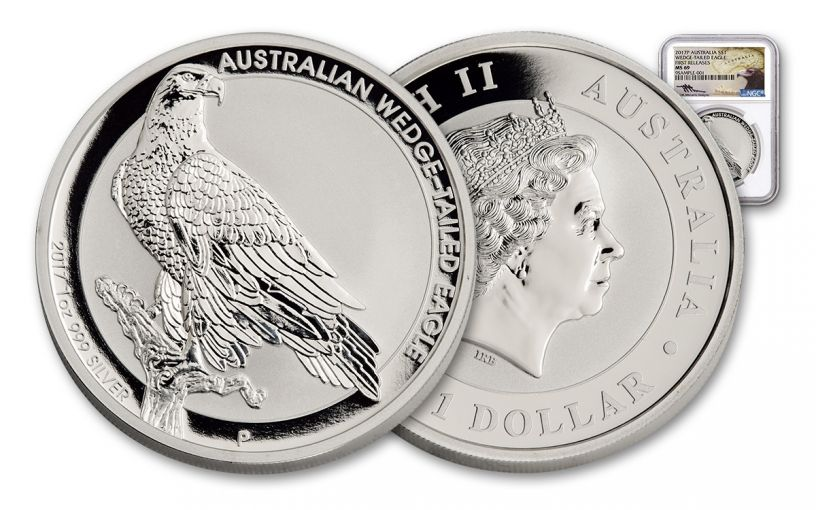 2017 Australia 1 Dollar 1-oz Silver Wedge-Tailed Eagle NGC MS69 Mercanti Signed First Releases