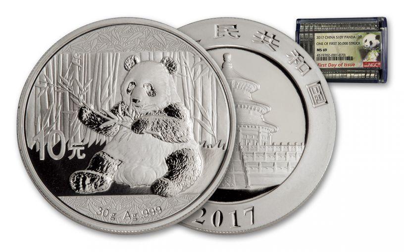 2017 China 30-Gram Silver Panda NGC MS69 FDI 20-Coin Roll