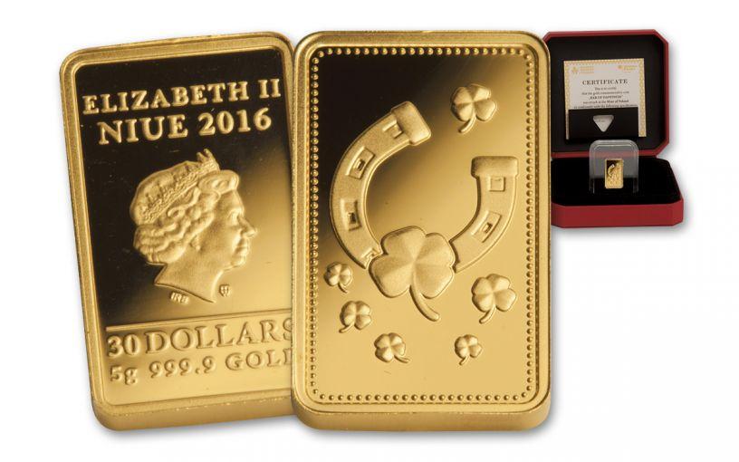 NIUE 2016 $30 5 GRAM GOLD INGOT OF HAPPINESS PF