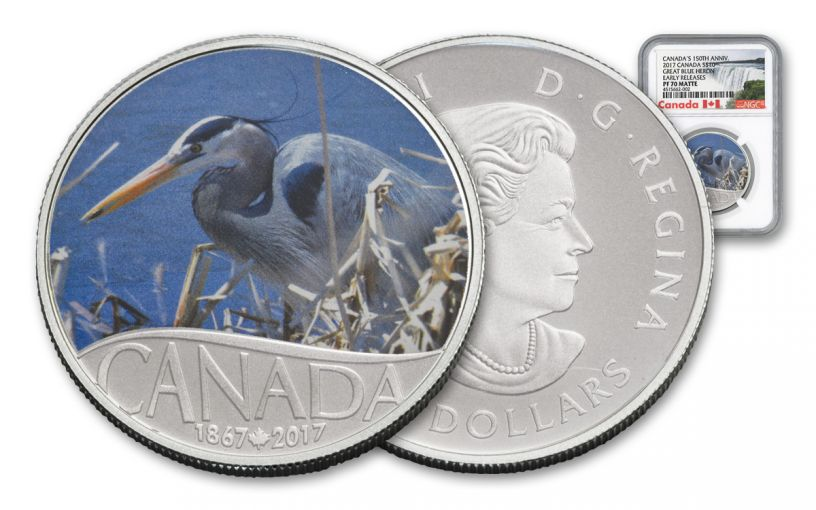 2017 Canada 10 Dollar Silver Great Blue Heron NGC PF70- Early Release