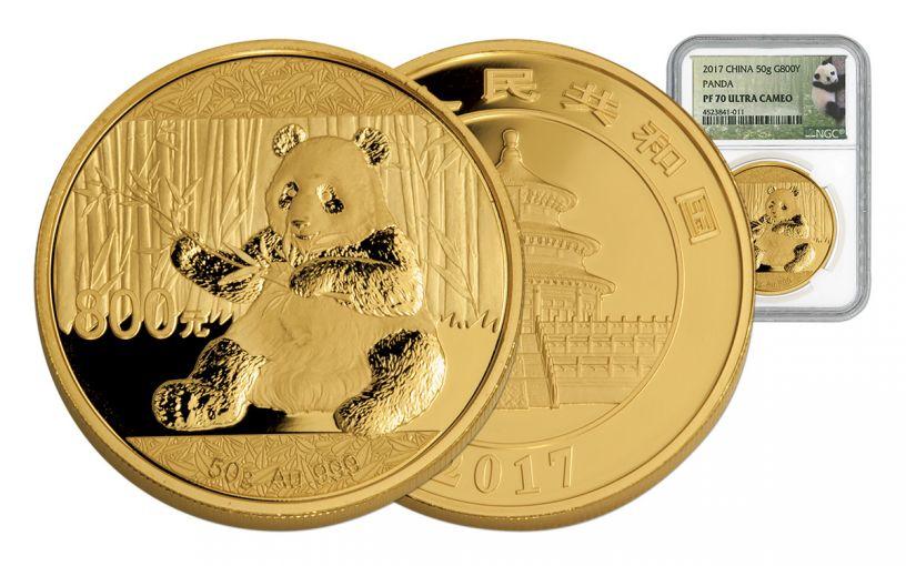 2017 China 50 Gram Gold Panda NGC PF70UCAM