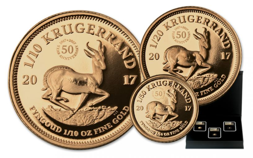 2017 South Africa Gold Krugerrand Prestige 3-Pc Set NGC PF69UCAM First Releases