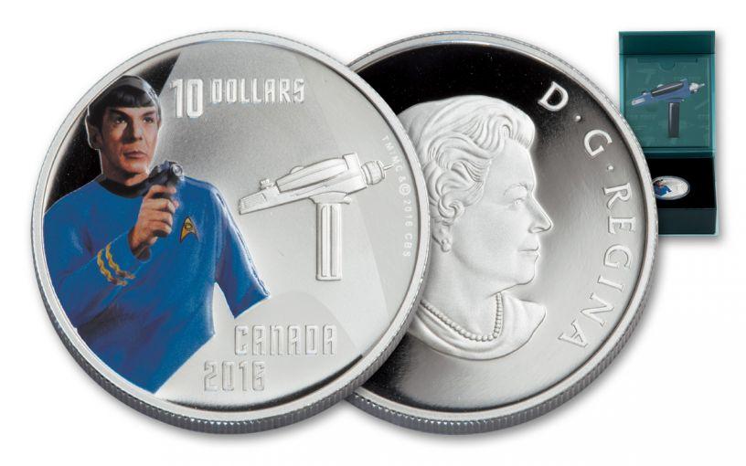 2016 Canada 10 Dollar Silver Star Trek Spock Gem Proof