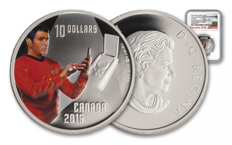 2016 Canada 10 Dollar Silver Star Trek Scotty NGC PF69UCAM Early Release