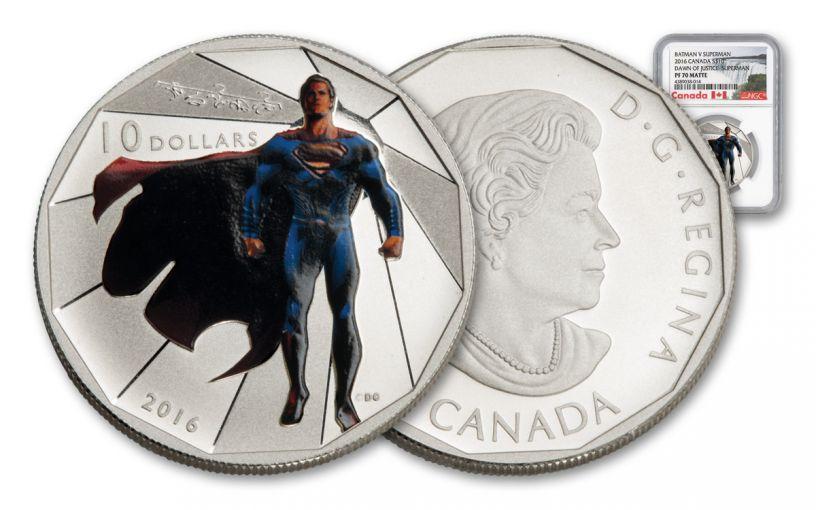 2016 Canada 10 Dollar Silver Batman V Superman Matte NGC PF70