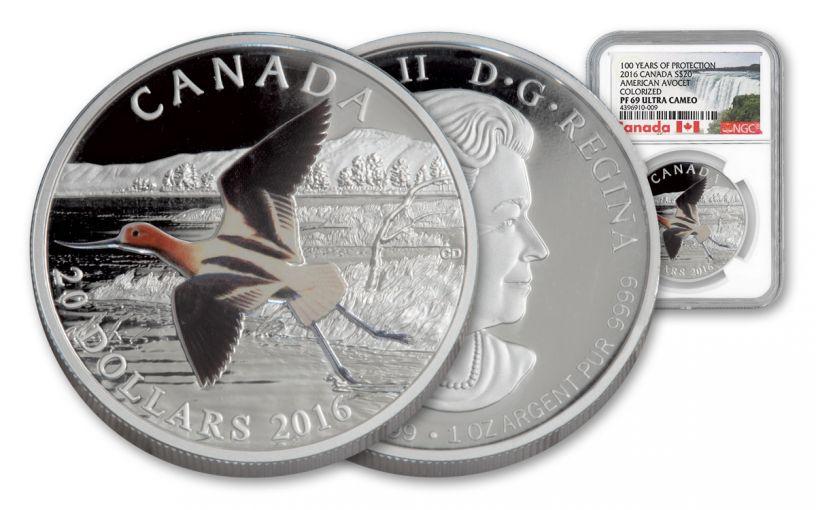 2016 Canada 20 Dollar 1-oz Silver American Avocet NGC PF69UCAM