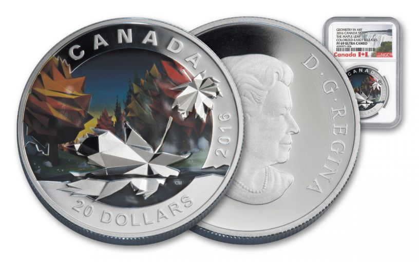 2016 Canada 20 Dollar 1-oz Silver Geometry Maple NGC PF69UCAM Early Release