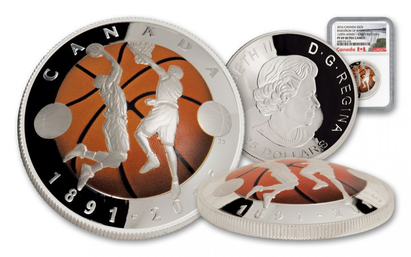 2016 Canada 25 Dollar 1-oz Silver Basketball Anniversary NGC PF69UCAM Early Release