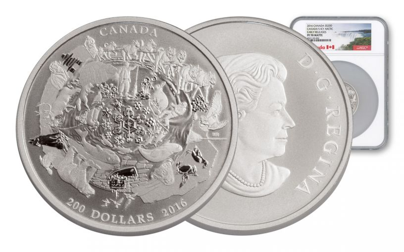 2016 Canada 200 Dollar Silver Icy Arctic NGC PF70 Early Release - Matte