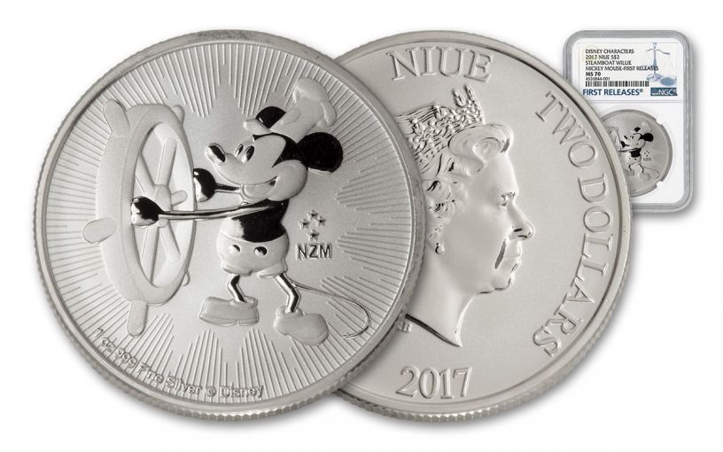 2017 Niue 2 Dollar 1-oz Silver Mickey Steamboat Willie NGC MS70 First Releases