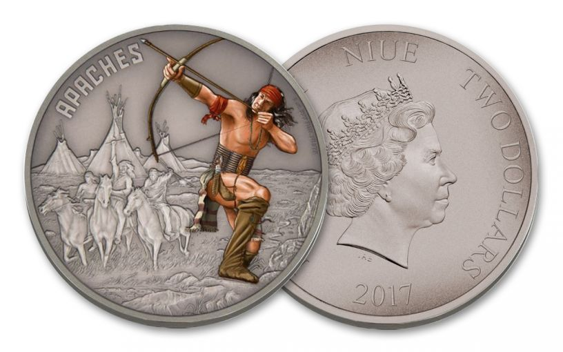 2017 Niue 2 Dollar 1-oz Silver Warriors of History Apache Proof