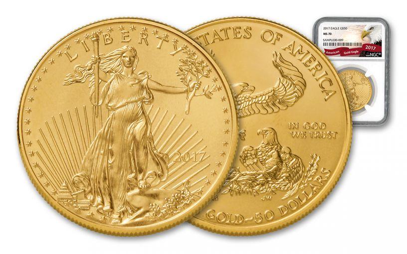 2017 50 Dollar 1-oz Gold Eagle NGC MS70 Eagle Label