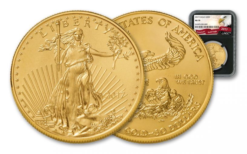 2017 50 Dollar 1-oz Gold Eagle NGC MS70 Eagle Label - Black