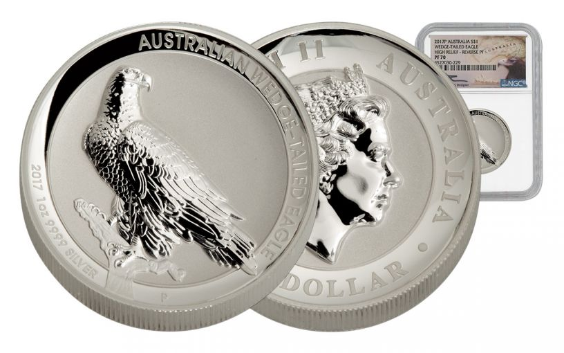 2017 Australia 1 Dollar 1-oz Silver Wedge-Tailed Eagle High Relief Reverse Proof NGC PF70UCAM