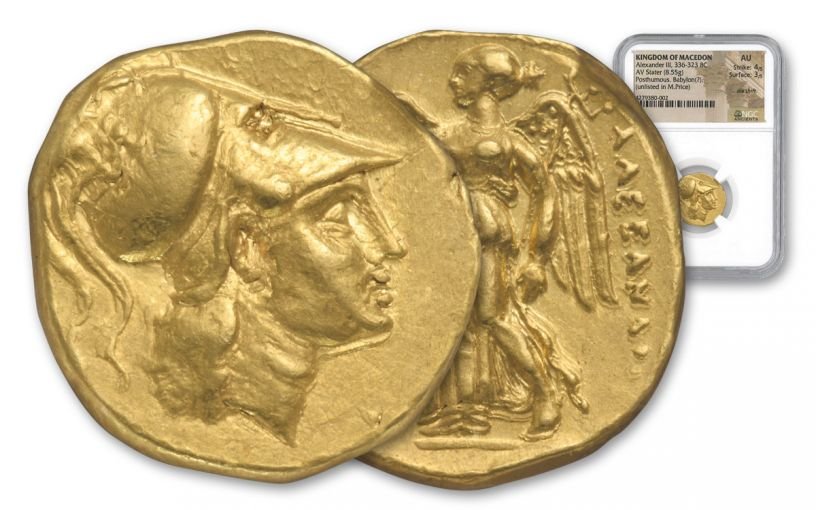 Ancient Greek Gold Alexander Stater Babylon NGC AU