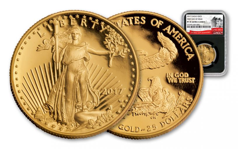 2017-W 25 Dollar 1/2-oz Gold Eagle Proof NGC PF70UCAM FDI 225th Anniversary - Black