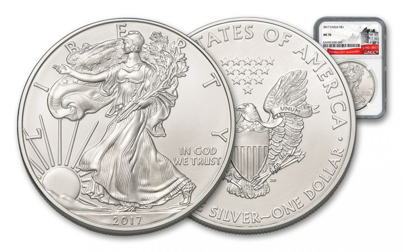 2017 $1 1-oz Silver Eagle NCG MS70 225th Ann