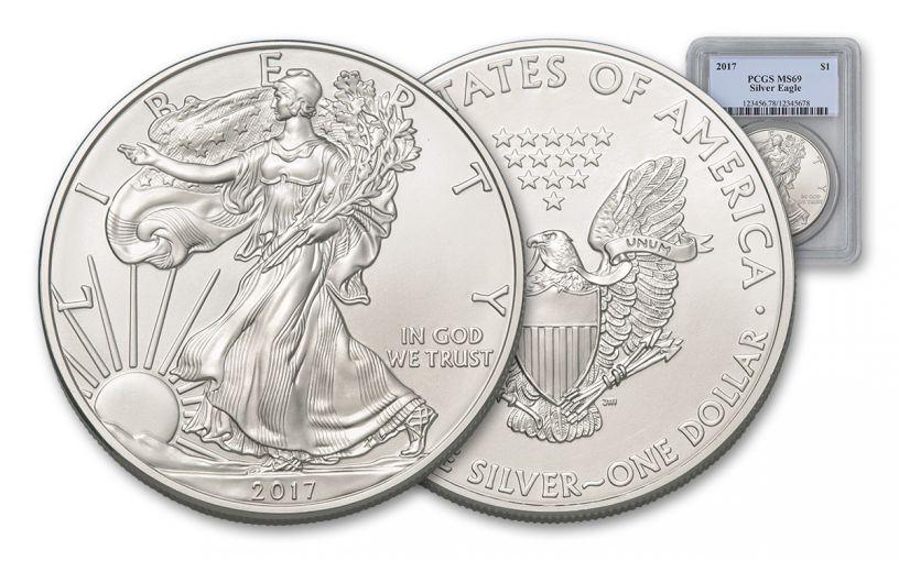2017 $1 1-oz Silver Eagle PCGS MS69